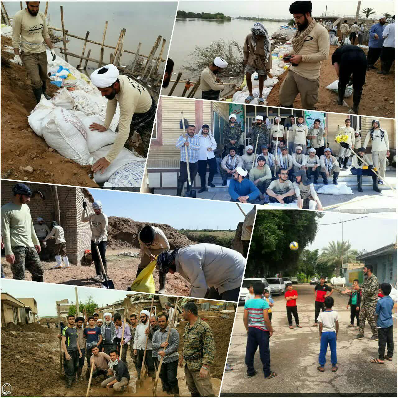 حضور جهادی طلاب مدرسه آیت الله بهجت برای کمک به سیل زدگان خوزستان